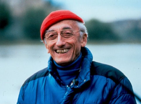 Jacques Cousteau in his trademark red hat